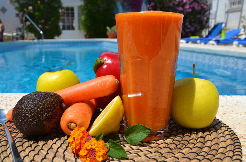 Tasty carrot juice at La Crisalida health and wellbeing retreats