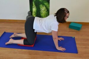 Practising the cat cow asana during hatha yoga at La Crisalida Retreats, yoga retreat, Spain
